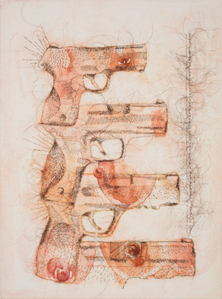 """Die by the Drop, Hand-sewn Human Hair, Thread and watercolor, 12"""" x 9"""", 2013"""