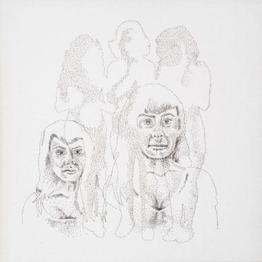 Jiggle, Jiggle, Jiggle, Hand-sewn Human Hair on Canvas, 2012